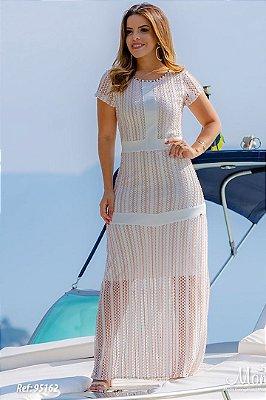 Vestido Longo Moda Evangelica Off White com detalhes em Pedrarias Monia 95162