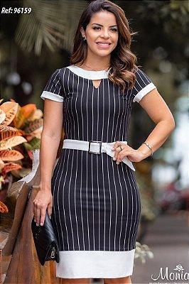 Vestido Risca de Giz Moda Evangelica com Cinto Monia 96159
