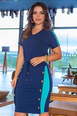 Conjunto Moda Evangelica com amarração na cintura e detalhes em botões Boutique K 4822