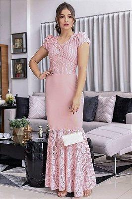 Vestido Longo Moda Evangélica Estampado com detalhes em botões RP