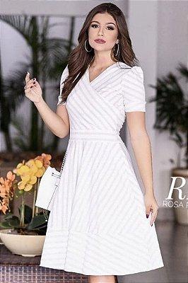 Vestido Lady Like Moda Evangelica Transpassado em Malha Canelada RP
