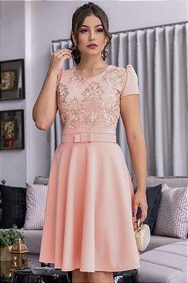Vestido Lady Like Moda Evangelica com Cinto e detalhes em Renda RP
