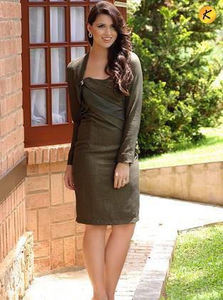 Vestido Moda Evangelica Tomara com Bolero Kauly 8067