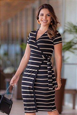 Vestido Transpassado Moda Evangelica em Malha Listrada Boutique K 4624