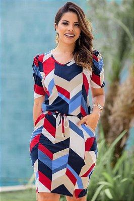 Vestido Transpassado Moda Evangelica Estampado com bolso Boutique K4821