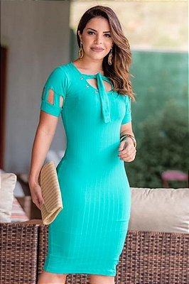 Vestido Tubinho Verde Moda Evangelica em Malha Canelada com detalhes na gola Boutique K 4820