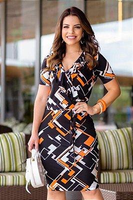 Vestido Transpassado Moda Evangelica com detalhes em babado e amarração na cintura  Boutique K 4825