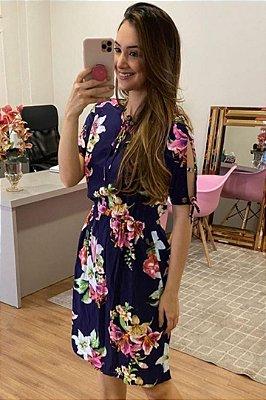Vestido Floral Moda Evangelica com detalhes em amarração no decote e na manga Tata Martello 6035