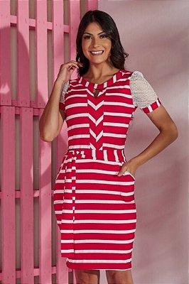 Vestido Tubinho Vermelho Moda Evangelica com amarração na cintura Tata Martello 5184