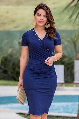 Vestido Transpassado Moda Evangelica Azul com detalhes no decote Boutique K 4831