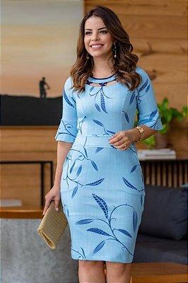 Vestido Tubinho Azul Moda Evangelica estampado com detalhes na gola Boutique K 0175