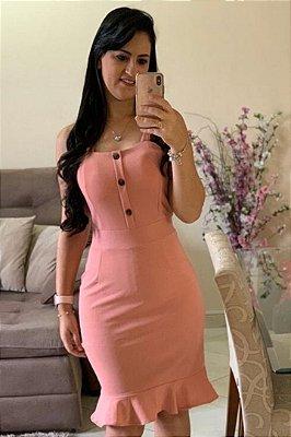 Vestido com Alça Larga Barra Sino Rose com detalhe em botões DM