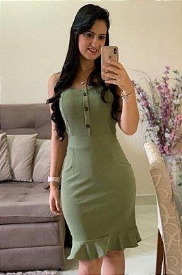 Vestido com Alça Larga Barra Sino Verde com detalhe em botões DM