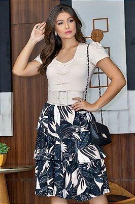 Vestido Lady Like Moda Evangelica detalhes em babados com cinto RP