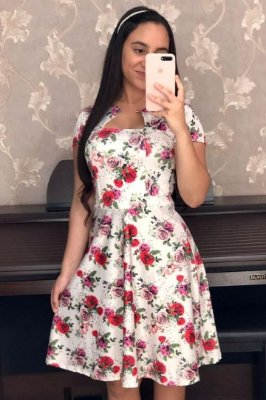 Vestido Lady Like Moda Evangelica Florido KB