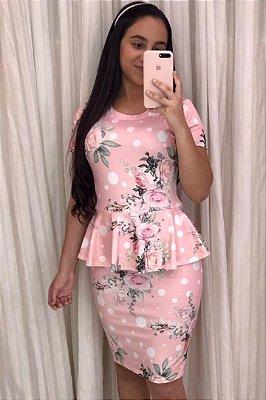 Vestido Estampado Moda Evangelica Rose Peplum KB