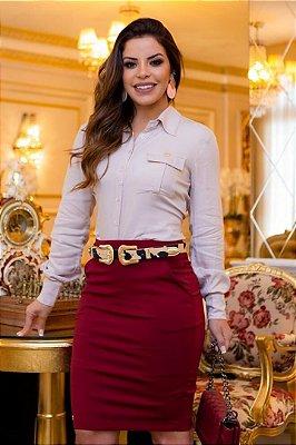 Conjunto Social Moda Evangelica Blusa em viscose e saia com detalhes em bolso Boutique K 0172