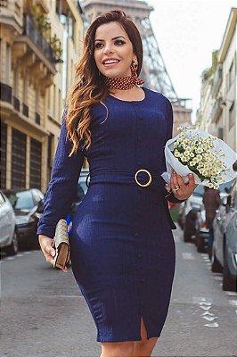 Vestido Tubinho Moda Evangelica Azul detalhes em botoes e cinto Joyaly 30532
