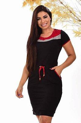 Vestido Tubinho Moda Evangelica Vermelho com detalhes em amarração na cintura DM