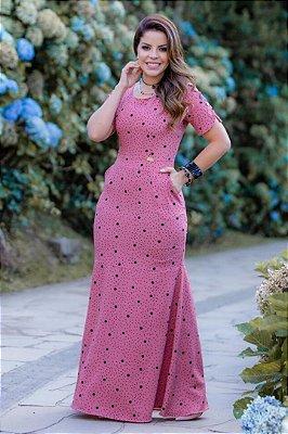 Vestido Longo Moda Evangelica Estampado Corte Sereia Boutique K 0182