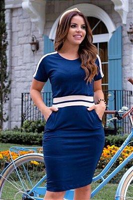 Vestido Moda Evangelica Azul com recortes e detalhes em bolso Boutique K 4842