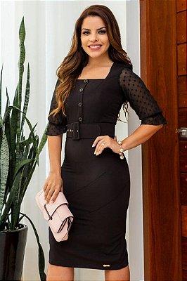 Vestido Tubinho Moda Evangelica Preto com cinto Maria Amore 2947