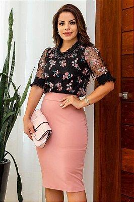 Vestido Tubinho Moda Evangelica com detalhes em Tule e Estampas Maria Amore 3094