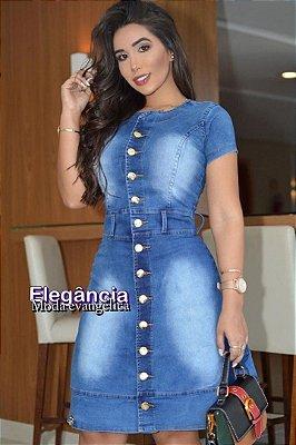 Vestido Jeans Moda Evangelica com detalhes em Botões EJ