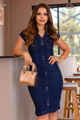 Vestido Jeans Moda Evangelica com detalhes em botões Monia 97165