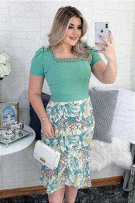 Vestido Moda Evangelica estampado com detalhes em perolas RP