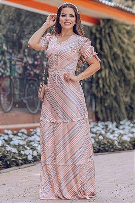 Vestido Longo Moda Evangelica Estampa em Listra detalhe com Perolas RP