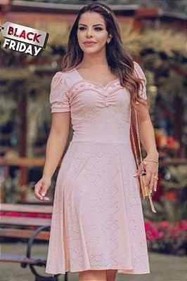Vestido Lady Like Moda Evangelica em Crepe de Malha com detalhe em Pérolas RP