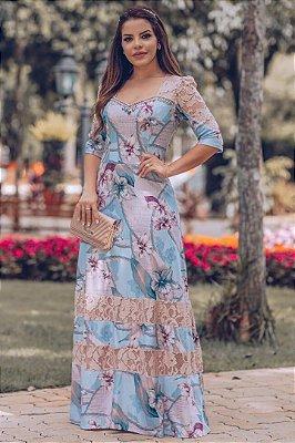 Vestido Longo Moda Evangelica Estampado com detalhe em Renda e Perolas RP