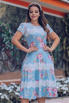 Vestido Lady Like Moda Evangelica Estampado com detalhe em Renda RP