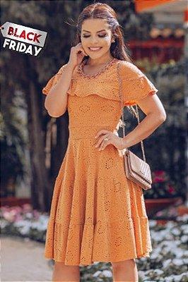 Vestido Lady Like Moda Evangelica em Malha Lese com detalhe em Pérolas RP