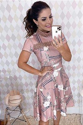 Vestido Lady Like Moda Evangelica com detalhe em Guipir e Perólas RP