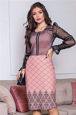 Vestido Moda Evangelica Rose manga longa com detalhe em tule e guipir RP