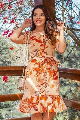Vestido Chemise Moda Evangelica estampado com detalhes em botões Boutique K 0213