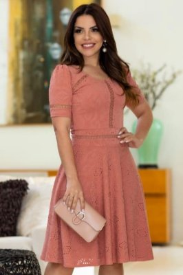 Vestido Lady Like Moda Evangelica Rose em Malha Lese RP