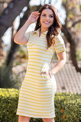 Vestido tubinho Moda Evangelica Amarelo listrado com detalhes em bolso Boutique K 4859