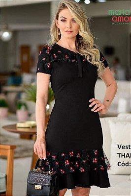 Vestido Barra Sino Moda Evangelica com detalhe em laço na gola Maria Amore 3141