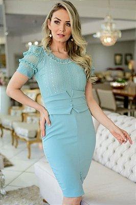 Vestido Tubinho Moda Evangelica com detalhe em Renda  Maria Amore 3203
