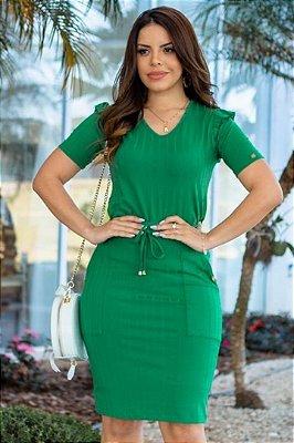 Conjunto Moda Evangelica Verde com detalhes em Bolso e Amarração Boutique K 4863
