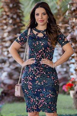 Vestido Tubinho Moda Evangelica estampado com detalhes em Bolso e Amarração Boutique K 4864