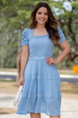 Vestido Lady Like Moda Evangelica em Póa com detalhes em Pérolas e Guipir RP