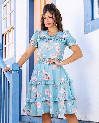 Vestido Lady Like Moda Evangelica com detalhes em Babados e Pérolas RP