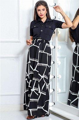 Vestido Longo Moda Evangelica com detalhes em botões e bolso RP