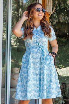 Vestido Lady Like Moda Evangelica estampado com detalhes em botões Boutique K 0960