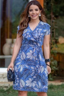 Vestido Transpassado Moda Evangelica Azul com detalhes em babados Boutique K 4870