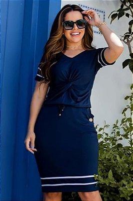 Vestido Tubinho Moda Evangelica Azul  com detalhes em nó e faixa Boutique K 0233